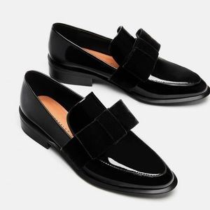 Zara Velvet Bow Black Loafers Size 5